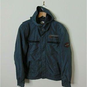 Harley Davidson M Hooded Windbreaker Jacket Gray